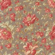 Moda Larkspur by 3 Sisters - 4455 - Garden Blooms, Pink Floral on Grey  - 44100 13 - Cotton Fabric